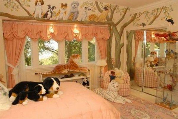 Orange children's pet dog tree bed curtain