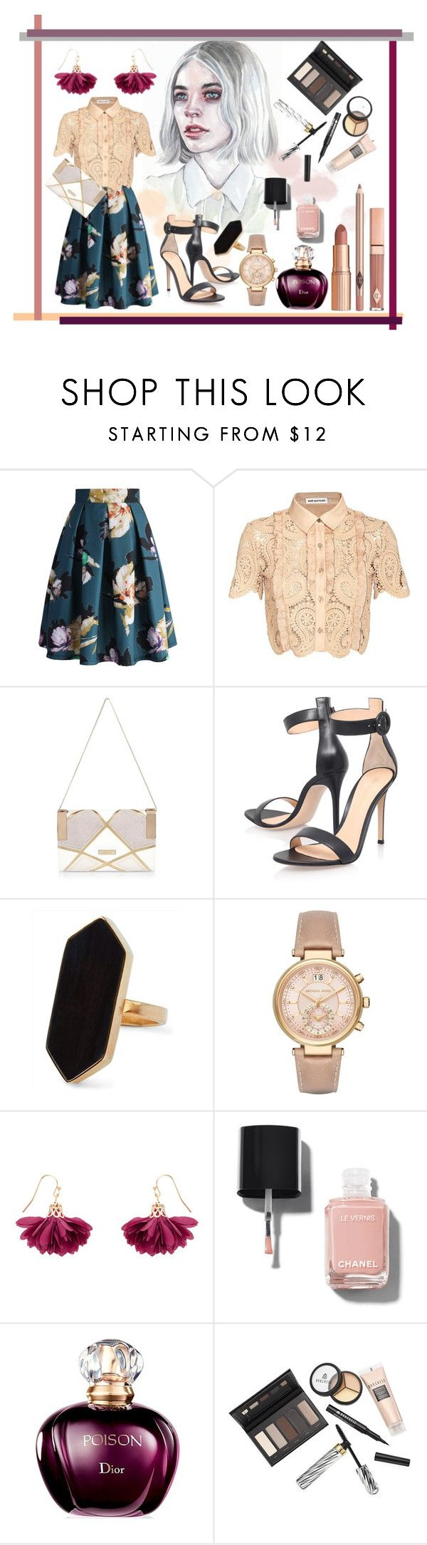 """""""Blushed"""" by karimaputri on Polyvore featuring Chicwish, self-portrait, River Island, Gianvito Rossi, Jaeger, Michael Kors, Accessorize, Chanel, Borghese and Dolce Vita"""