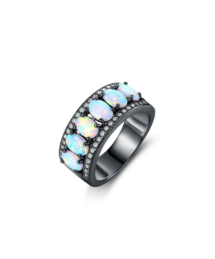 Take a look at this Opal & Black Rhodium Band Ring today!