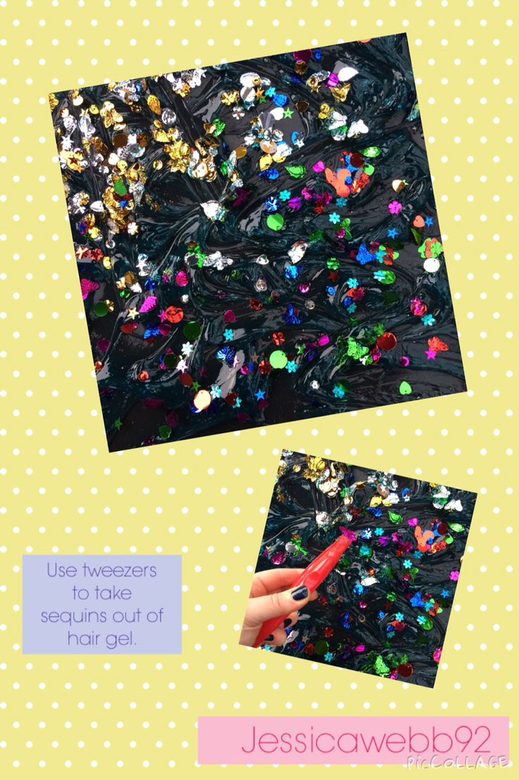 Using tweezers to pick sequins out of then hair gel. EYFS