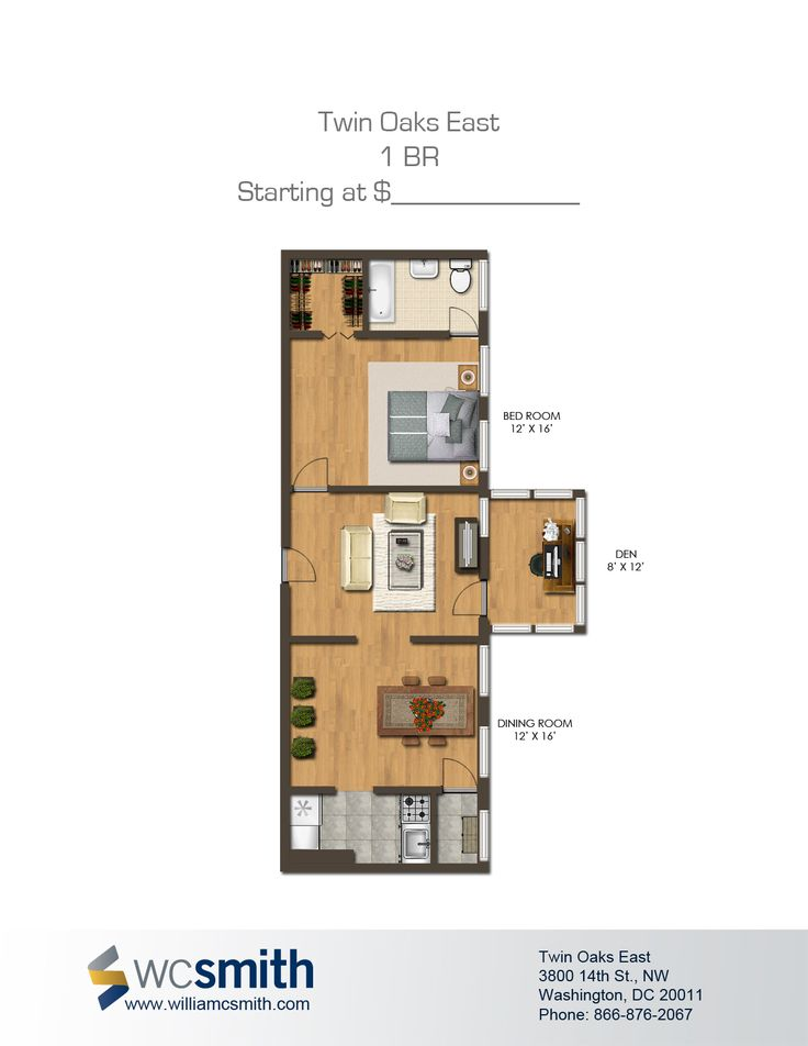 One Bedroom Floor Plan | Twin Oaks In Northwest Washington DC | WC Smith # Apartments