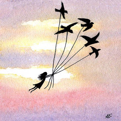 L'envolée | © Anne-Laure Charlery | Grain de vent | Illustration à l'aquarelle et encre de Chine | graindevent.com