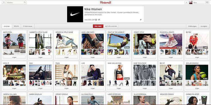 Nike Women gebruikt Pinterest heel frequent als communicatiemiddel. Zowel de nieuwe kledingcollecties als bijvoorbeeld tips om beter te sporten zijn op dit account te vinden. #multimedia1 bron: http://www.pinterest.com/nikewomen/