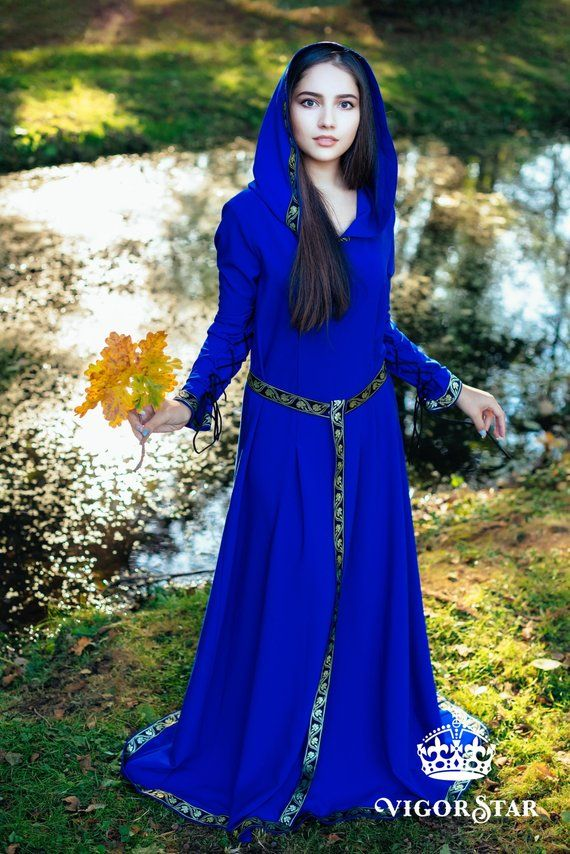 8795365c8b3f58 Blue hooded medieval gown fantasy elf dress Christmas costume for women  renaissance outfit photo pro