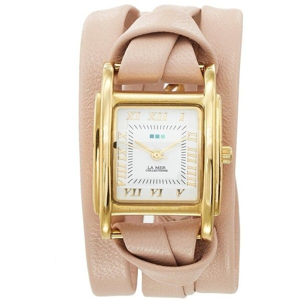 La Mer Collections 'Milwood' Leather Wrap Watch, 35mm ($84) ❤ liked on Polyvore featuring jewelry, watches, leather jewelry, la mer jewelry, polish jewelry, square watches and wrap watch