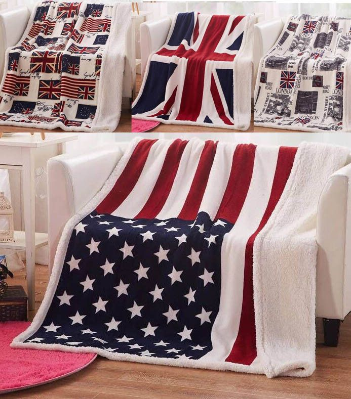 Double Layer Fleece Sherpa Plush Faux Fur USA American Flag Throw Blanket 4 Styles With or Without Gift Bag