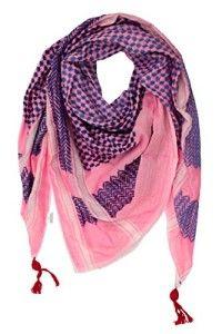 Hirbawi Kufiya Original Men's Arab Scarf One Size Blue on Pink