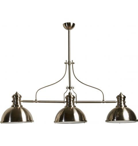 Parisian Metal & Glass Industrial 3 Light Pendant   Perfect over a Kitchen Island also aval. Powder Coated Black