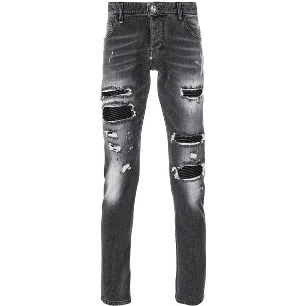 Philipp Plein distressed slim-fit jeans ($1,145) ❤ liked on Polyvore featuring men's fashion, men's clothing, men's jeans, grey, mens grey ripped jeans, mens destroyed jeans, mens distressed jeans, mens grey slim fit jeans and mens gray jeans