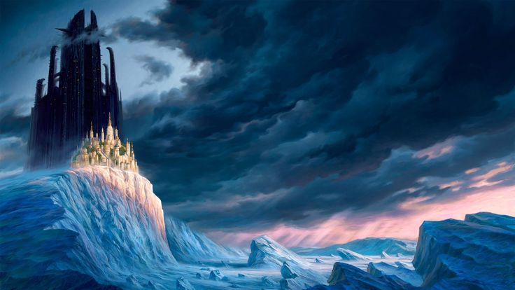Castle on the icy cliff anime wallpaper download world