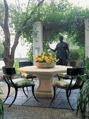 Michael Taylor Italian Table And Klismos Garden Chair