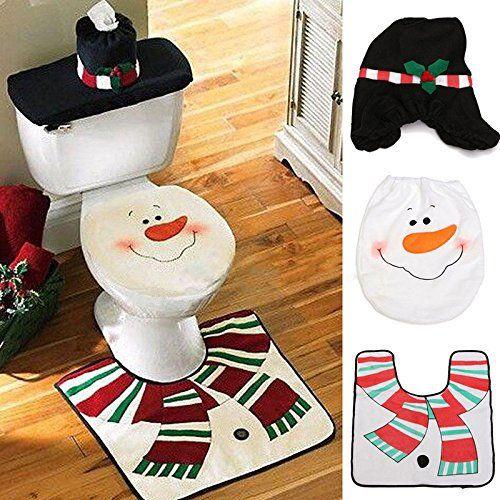 Décoration de Noël Père Noël Toilettes Housse de siège et tapis & boîte à mouchoirs Housse de cadeau: Costume de Père Noël de Noël couverts…