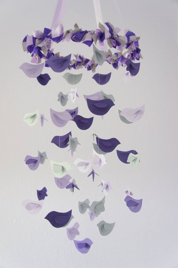 Garden flight butterfly eva shower curtain bedbathhome com - Modern Nursery Mobile Birds In Purple Lavender Grey Baby Shower Gift Photographer Prop