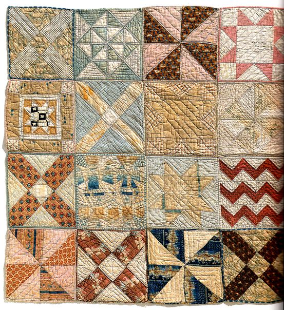 1847 crib quilt, quilted block by block, potholder style. Yumie Ono Collection.