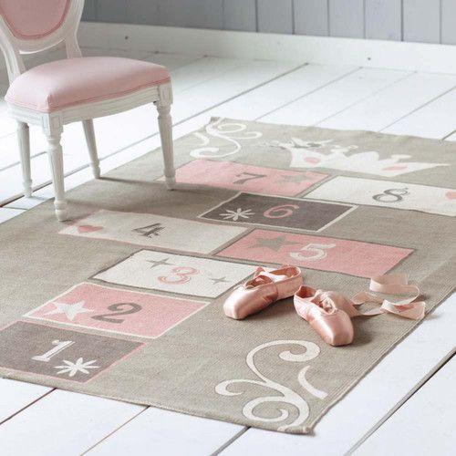 Alfombra infantil rayuela gris y rosa de algodón 120× 180cm PRINCESSE