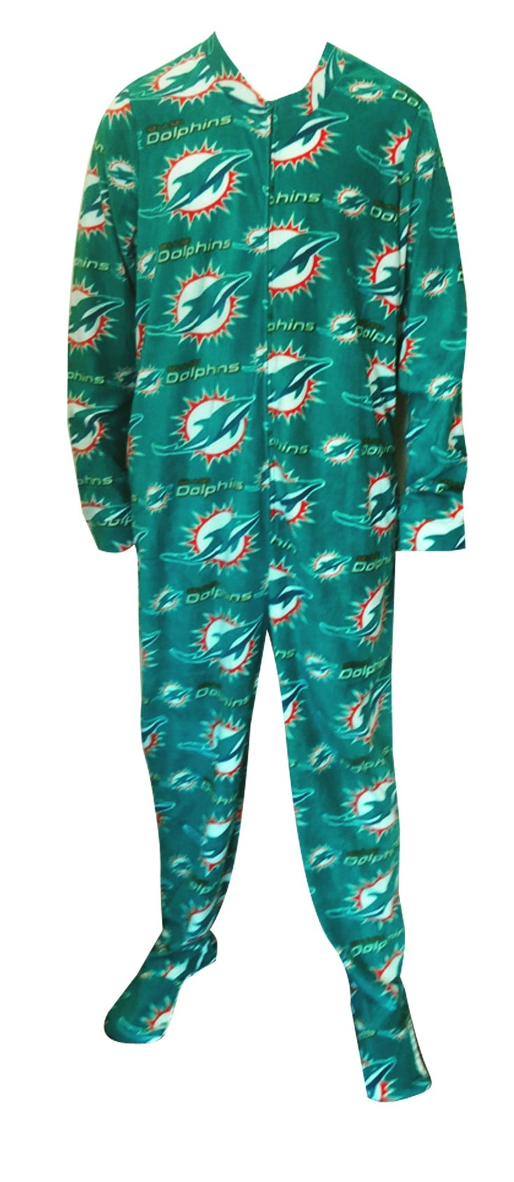 Miami Dolphins Guys Onesie Footie Pajama Show your team spirit! This cozy microfleece footie pajama for men features the classi...
