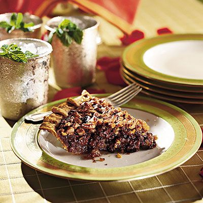 Chocolate-Bourbon Pecan Pie - Kentucky Derby Party Recipes | Southern Living.  A reviewer preferred light corn syrup.
