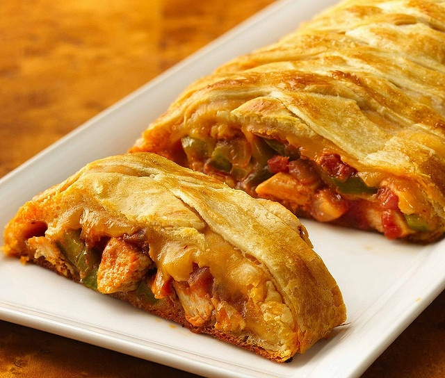 Chicken Fajita Crescent Braid ... This was a hit at our house .. We will probably have this again. I used only out 1/2 the cheese on the inside because I think I had more hickey than called for. We then added more cheese and Salsa once served .. YUMM!!!