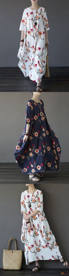 US$37.59+Free shipping. Size: S~5XL. Color: Navy, White. Home or out, love this vintage and casual dress. Women Dresses, Long Dresses, Dresses Casual, Dresses for Teens, Summer Dresses, Summer Outfits, Retro Fashion.