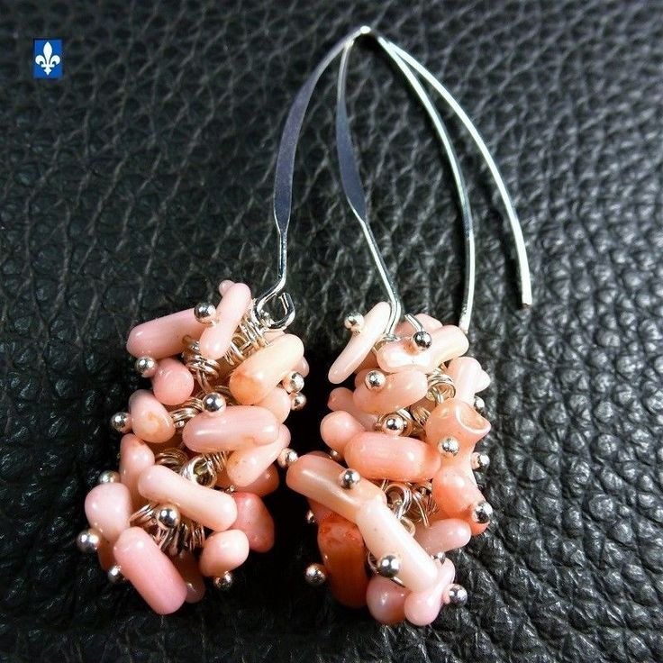 ♥ Gorgeous Pink Natural Coral Cluster Plated Silver Earrings