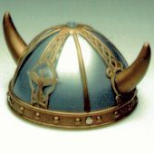 Kids Blue and Gold Viking Helmet Hat - Draw up the imagination and find the time to pillage a village with this awesome kids Viking helmet hat!  This Viking helmet is made out of a hard plastic with two twistable horns. The background of the helmet is blue. The base is gold with four gold studs. On the front is a phoenix taking flight which goes up into a twist.   #helmet #yyc #costume #viking