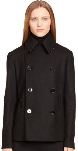 $995, Black Pea Coat: Ralph Lauren Black Label Cheryl Wool Pea Coat. Sold by Ralph Lauren. Click for more info: https://lookastic.com/women/shop_items/325157/redirect