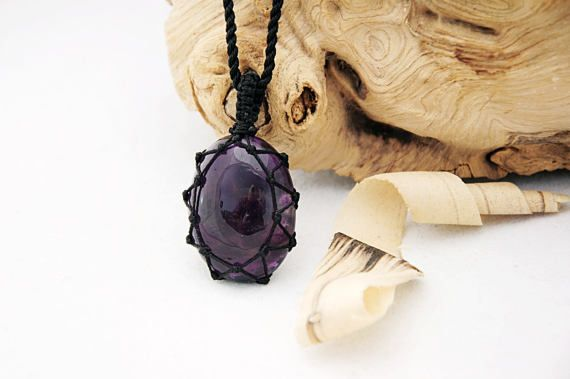 Small gift for him, Amethyst necklace, Dark purple pendant for men, Purple crystal jewelry, Gemstone everyday necklace, Cord pendant ON SALE