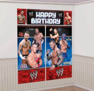 "WWE Wall Decoration Kit by Amscan. $6.17. Size: 59 x 65. This WWE giant wall decoration sets the scene of your favorite WWE wrestler. This ensemble contains five wall decorations, when combined total over 5 feet tall. Included are 2 - 32.5"" x 59"" murals, 1 - Happy Birthday sign and two complementing 10.25"" x 16"" photos of John Cena and CM Punk."