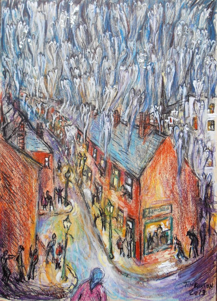 """""""LONG ROW"""" The Night The Angels Came Down, second version of this, crayon, pen and glitter on card."""
