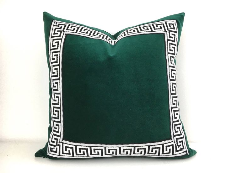 Emerald Green Pillow Cover - Pine Green Velvet Pillow with Black and White Greek Key Trim by ThereseMarieDesigns on Etsy https://www.etsy.com/listing/503274087/emerald-green-pillow-cover-pine-green