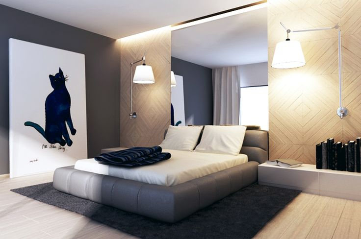 Aranżacja sypialni wystrój nowoczesny w kolorach beżowy, szary - projekt wnętrza #9046378, Homplex