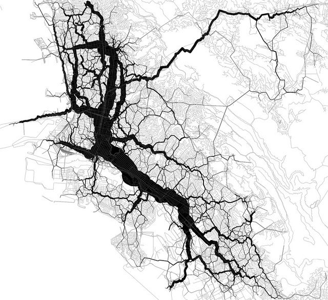 21167 trips routed through 1000 geotags. Data from the Twitter streaming API. Base map from OpenStreetMap