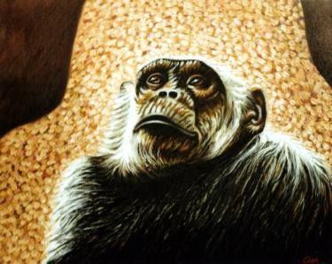 "Saatchi Art Artist Dan Civa; Painting, ""Chimpanzee portrait - chimp 4"" #art"