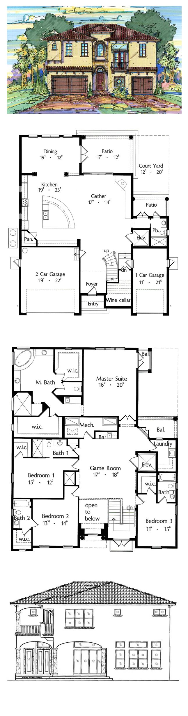 Italian House Plan 64640 | Total Living Area: 3394 sq. ft., 4 bedrooms & 4.5 bathrooms. #houseplan #italianstyle
