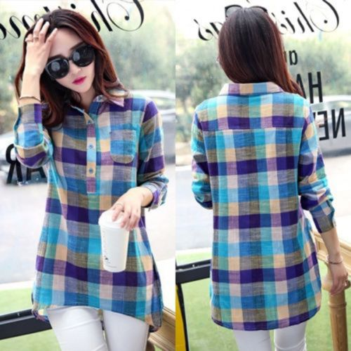Fashion Women Ladies Check&Plaids Loose Long Sleeve Casual Blouse T-Shirt Tops L | eBay