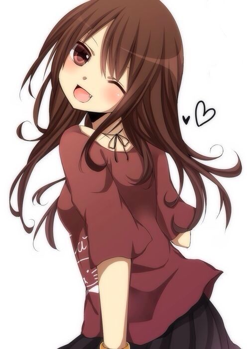 Anime girl with dark brown hair and brown eyes