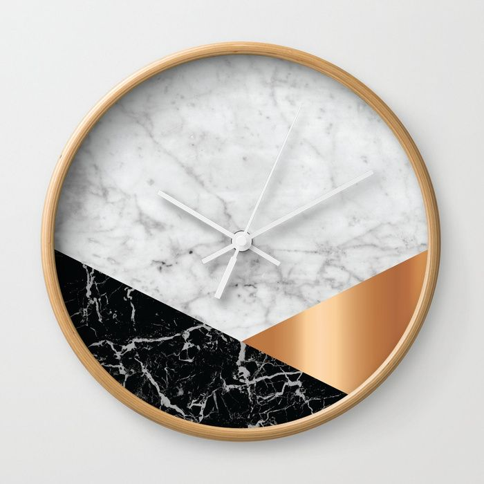 White Marble Black Granite Rose Gold 715 Wall Clock By Natural Collective Co Geometric Marble Design G White Marble Black Wall Clock Wall Clock