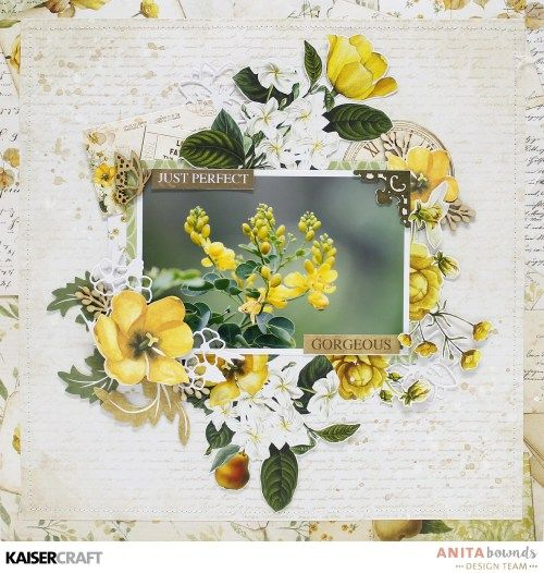 """Just Perfect"" Layout by DT member Anita Bownd featuring Exciting New July 2017 Decorative Dies for Kaisercraft Official Blog. Layout features ""Golden Grove"" collection + ""Golden Pear Cluster"" Die. Learn more at kaisercraft.com.au/blog - Wendy Schultz - Kaisercraft Layouts."