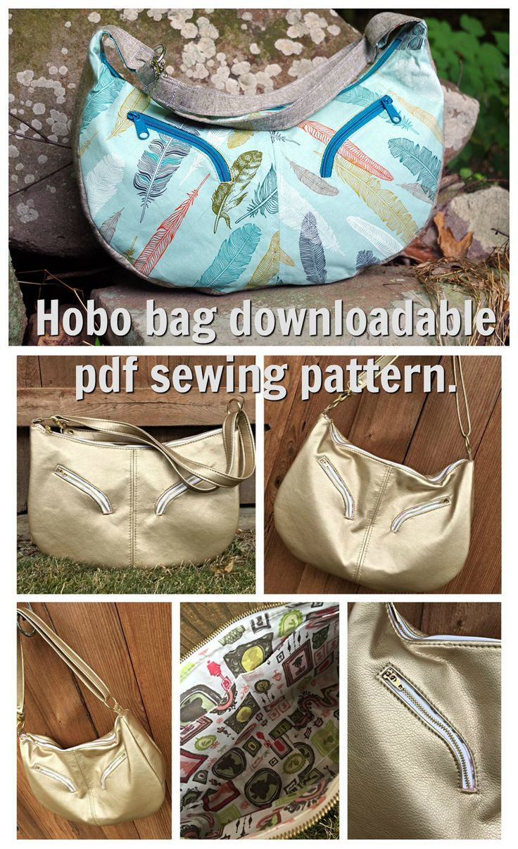 This is an 80's inspired large hobo bag. Two curved-zipper pockets accent the slouchy body of the bag, but the pattern also includes an option for straight zippers. There are two slip pockets inside and an adjustable strap with two fixed lengths; shoulder
