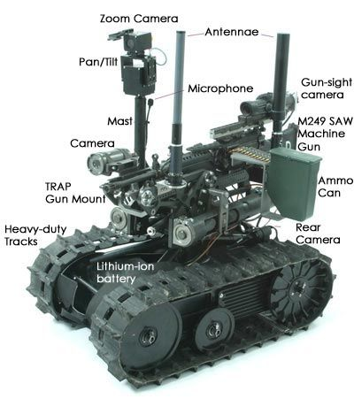 TALON portable tank robot - 100lbs, amphibious. Versions used in WTC rescue, Iraq, Bosnia, Afghanistan. Soon to be weaponized. the future