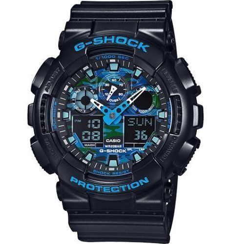 Casio G Shock Blue Black Camo Resin Analog Digital Watch GA100CB-1A