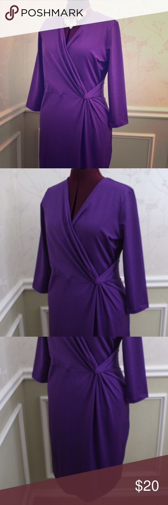 Long sleeve faux wrap dress Step out in this classic, conservative dress in a bold gem color! This amethyst beauty is knit and knee length. Dress it up with statement jewelry or dress it down with a casual jacket and boots! Peter Nygard Dresses Midi