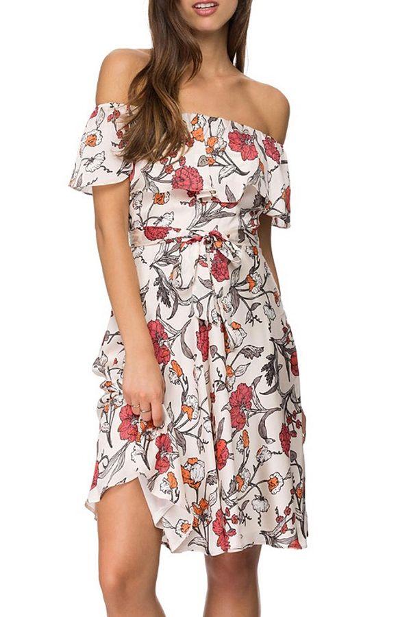 Off-The-Shoulder Floral Chiffon Dress