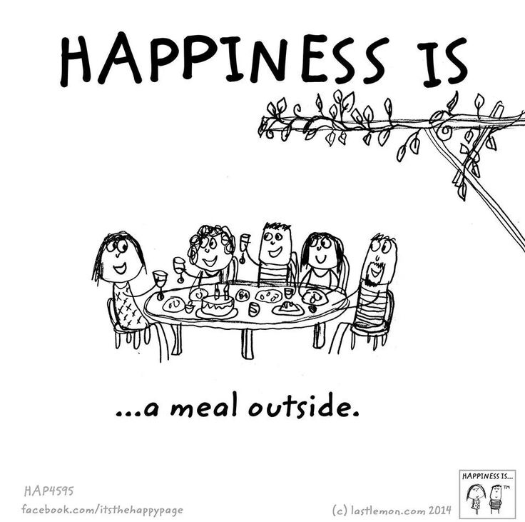Happiness is a meal outside.