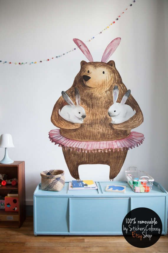 bear and bunny wall decal, kids friendly wall decor, ballerina bear wall sticker, children illustration wall decal, cartoon wall decor #15W
