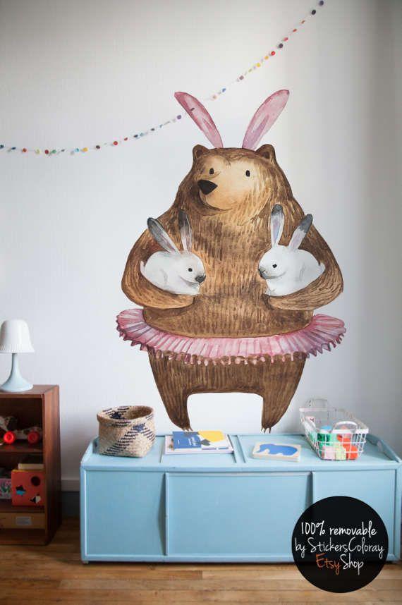 bear and bunny wall decal, kids friendly wall decor, ballerina bear wall sticker, children illustration wall decal, cartoon wall decor #15W