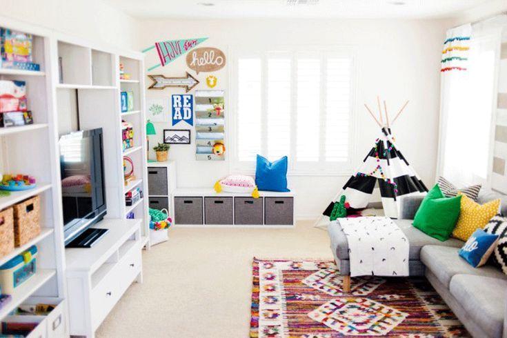The Year Of The Playroom 30 Inspiring Playrooms Project Nursery Living Room Playroom Playroom Design Colorful Playroom