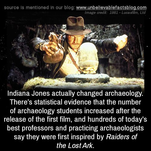 Indiana Jones actually changed archaeology. There's statistical evidence that the number of archaeology students increased after the release of the first film, and hundreds of today's best professors and practicing archaeologists say they were first...