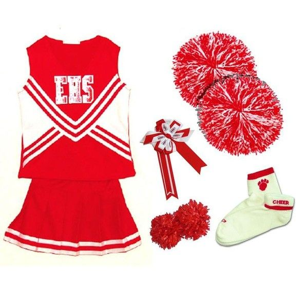 High School Musical Deluxe Cheerleading Costume ❤ liked on Polyvore featuring costumes, cheerleaders, deluxe halloween costumes, white costume, cheerleader costume, deluxe costume and red costumes