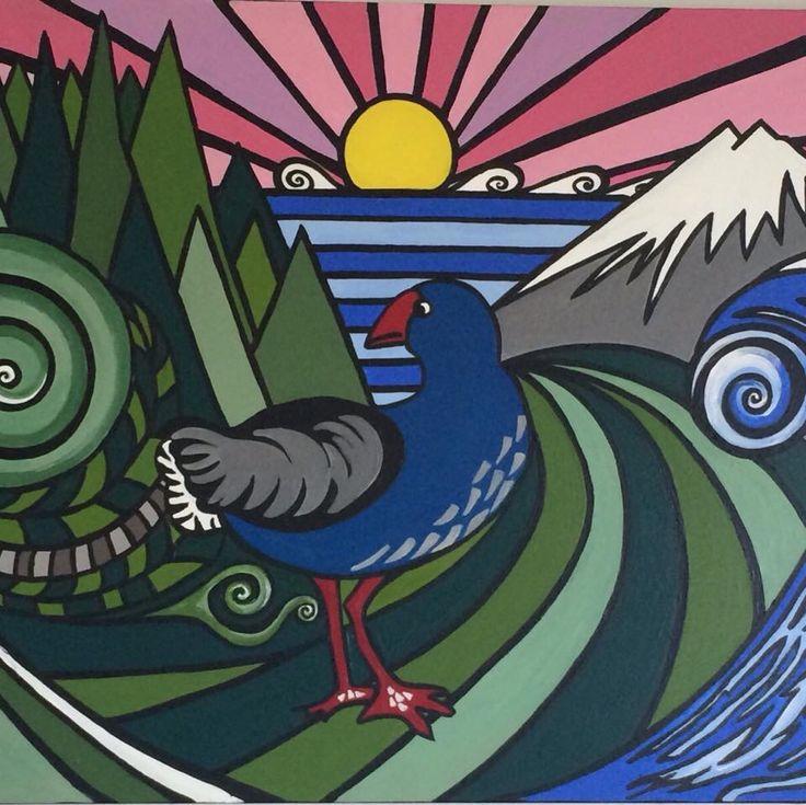 Pukeko in paradise acrylic abstract art